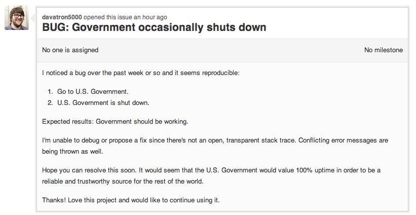 Github issue titled BUG: Government occasionally shuts down