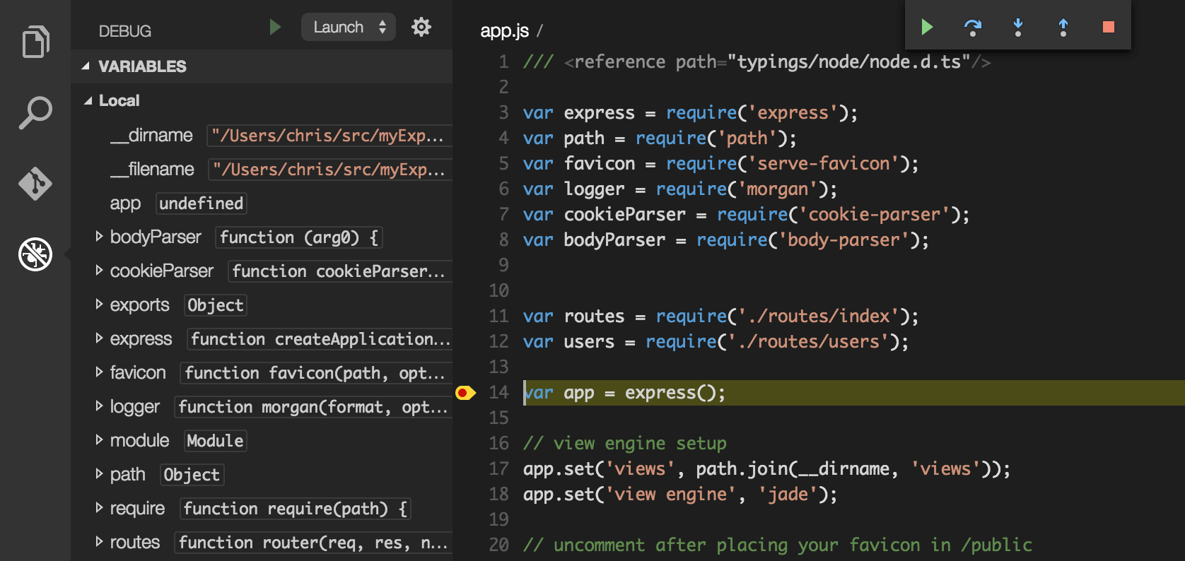 Screenshot of breakpoints added to Node.js app to debug from VS Code