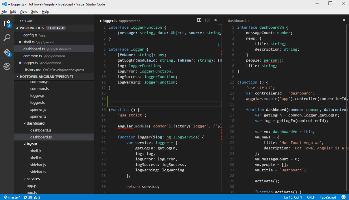 Screenshot of Visual Studio Code Editor