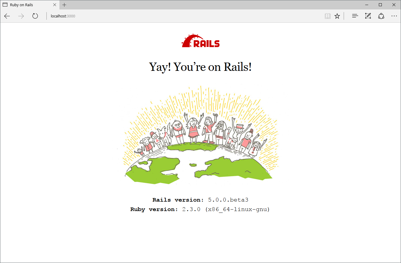 Ruby on Rails welcome screen reporting Linux as the OS