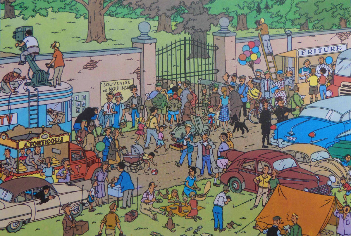 Comic: A large crowd of people, cars, and street vendors outside a gate with television crews peering over the wall.