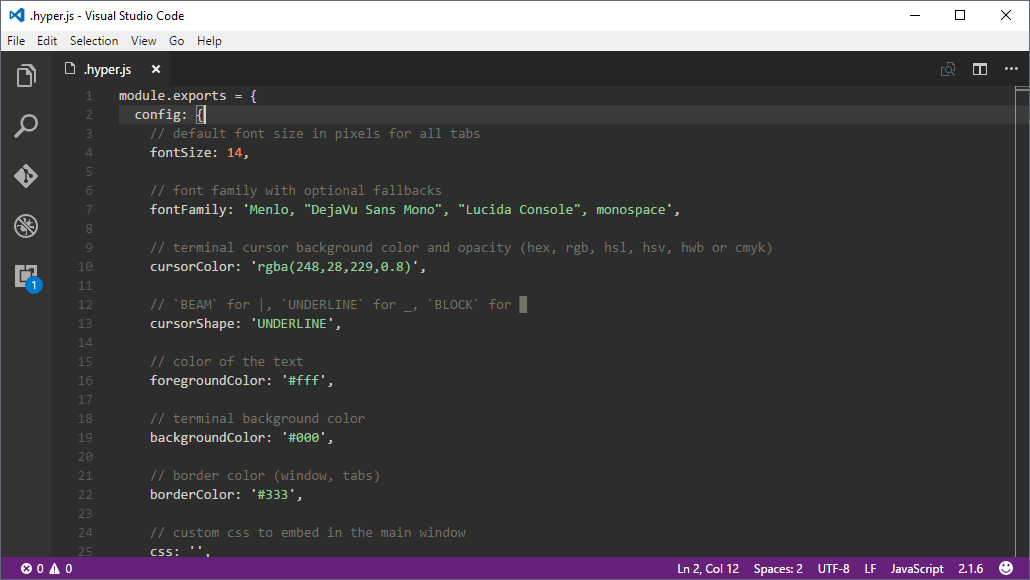 Screenshot of Visual Studio Code text editor