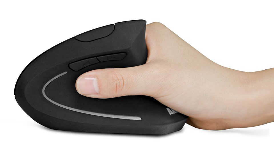 Hand holding an Anker vertical mouse