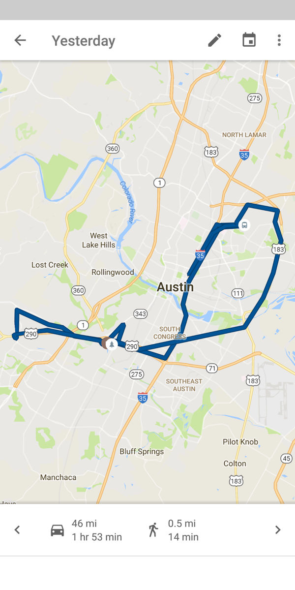 Map of my activity around Austin stored on Google's servers