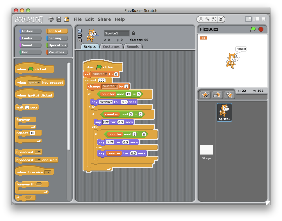 Fizzbuzz in Scratch