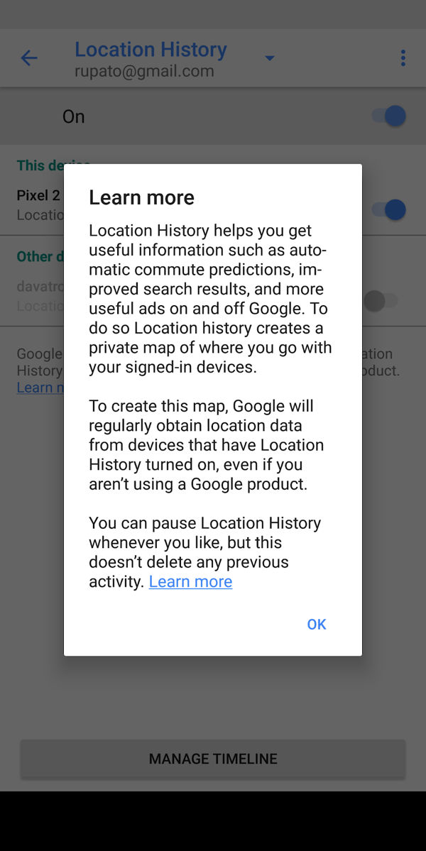 Google Maps on Android Location History Dialog